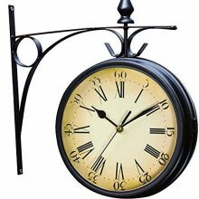 PetHot Outdoor Garden Clock Weatherproof Retro Paddington Station Wall Clock Double Sided With Outside Bracket 20CM