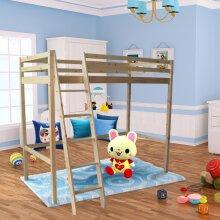 Pine Bunk Bed High Sleeper Solid Pine Wood Frame Slats Children Single