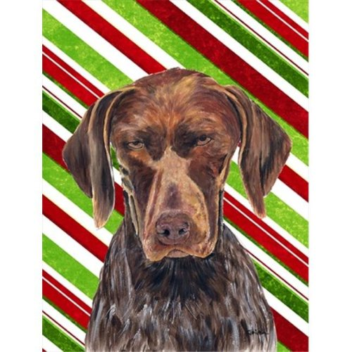 German Shorthaired Pointer Candy Cane Holiday Christmas Flag - Garden Size, 11 x 15 in.