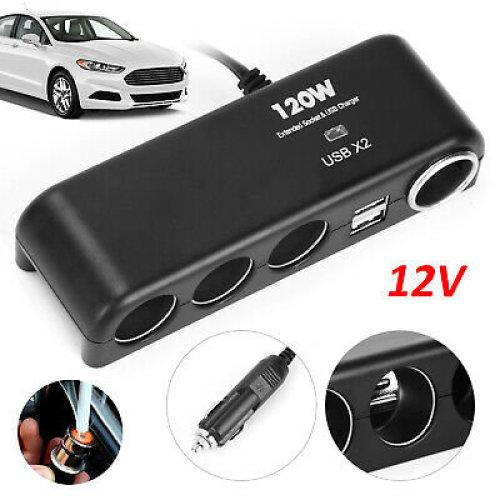 12V Multi Car Cigarette Lighter Socket Splitter Dual USB Power Adapter
