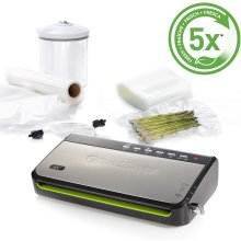 Foodsaver Food Vacuum Sealer Machine with Integrated Roll Storage, Bag Cutter & Delicate Food Mode, Includes Assorted Vacuum Sealer Bags, FFS005