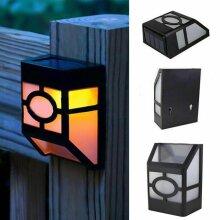 Solar Powered Wall Mount LED Light Garden Path Landscape Fence Yard Lamp