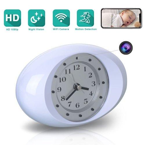 HD 1080P Wireless Hidden Camera IR Audio Recording Alarm Clock Motion Security
