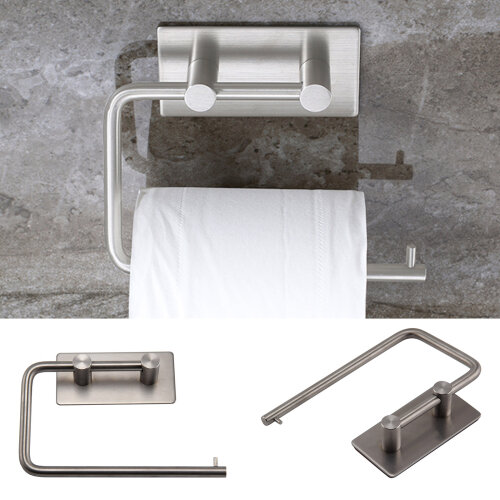 Wall Mounted Toilet Roll Holder Stainless Steel Tissue Stand Storage No Drilling