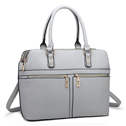 Miss Lulu Women Leather Handbag Laptop Shoulder Bag Tote Light Grey