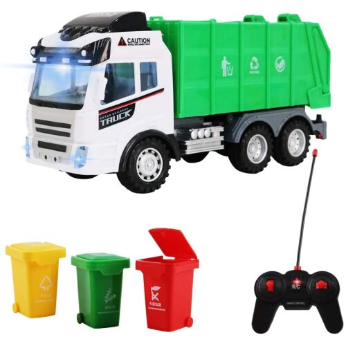 deAO Remote Control Engineering Construction Garbage Truck Vehicle with Three Bins, Light and Sounds Functions Included