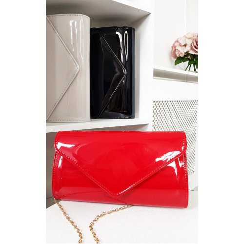 IKRUSH Womens Heidi Patent Envelope Clutch Bag