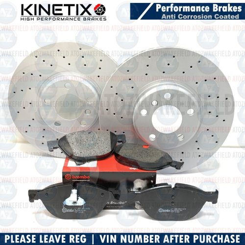 FOR BMW 525d M SPORT F10 F11 FRONT DRILLED BRAKE DISCS BREMBO PADS 348mm