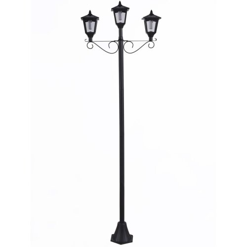 Luxform Solar LED Garden Post Lamp with 3 Lanterns Brooklyn Black  Outdoor Light