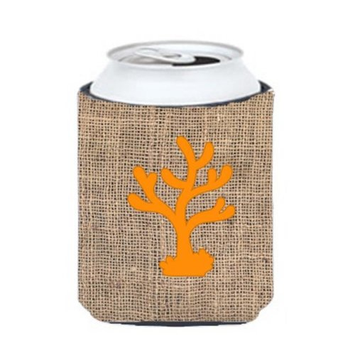 Coral Burlap And Orange Can Or Bottle  Hugger