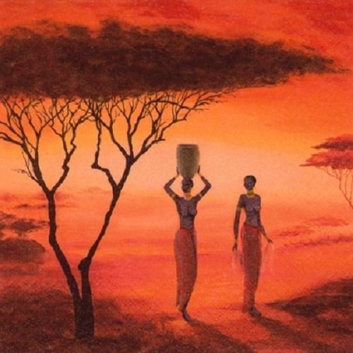 4 x Paper Napkins - African Sunset - Ideal For Decoupage / Napkin Art