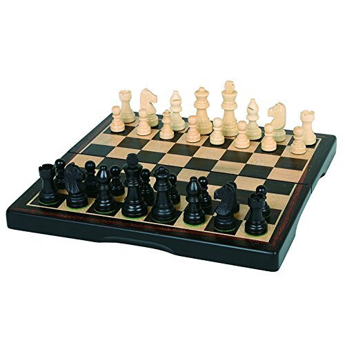 "Hansen games classic Ebony Inlaid Wooden chess Set 15"" Folding Board with 3"" King"