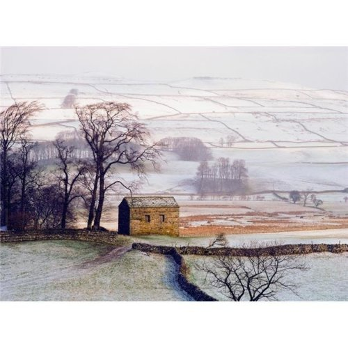 Snowy Landscape with Barn, Elevated View Poster Print, 36 x 26 - Large
