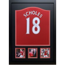 Framed Paul Scholes signed Manchester United shirt with COA & proof