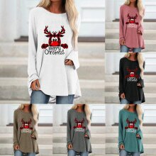 Xmas Women Reindeer Print Pullover Autumn Laides Long Sleeve Baggy Casual Tops