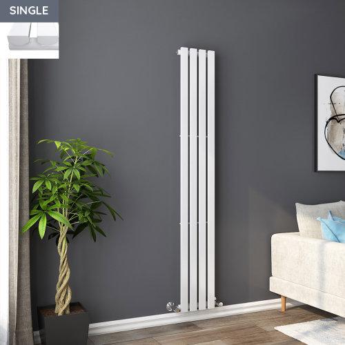 Lulea 1800 x 270mm White Single Rectangular Panel Vertical Radiator