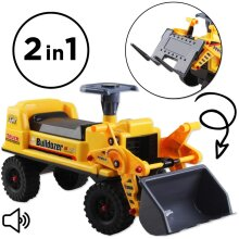 deAO 2-in-1 Ride on Toy Bulldozer Truck for Toddlers with Manual Forklift and Excavator Scoop, Horn and Additional Storage Seat
