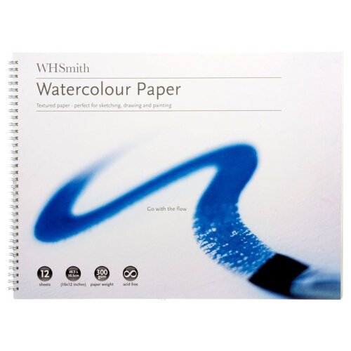 """WHSmith Watercolour Paper Acid-Free 300 GSM Size 16 x 12"""" Pack Of 12 Sheets"""