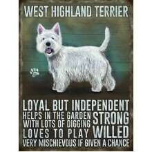 Medium Wall Plaque 200mm x 150mm - Westie by The Original Metal Sign Co