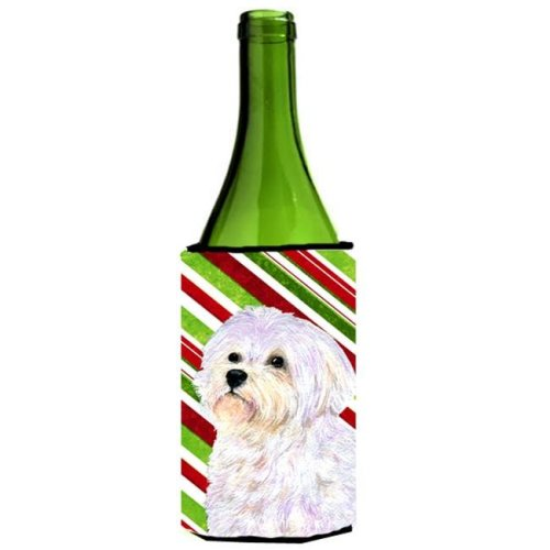 Maltese Candy Cane Holiday Christmas Wine Bottle  Hugger - 24 oz.