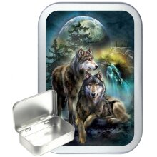 Wolf Stream 50ml Silver Hinged Tobacco Tin, Gift Tin