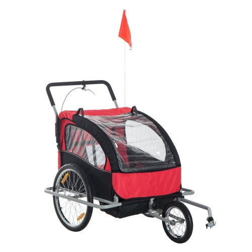 (Black & Red) Homcom 2 in 1 Collapsible 2-Seater Kids Stroller