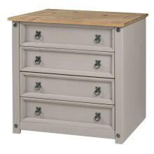 Corona Chest of Drawers 4 Drawer Grey Wax Small Solid Pine