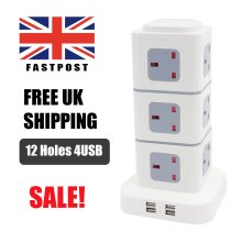 12 WAY SURGE PROTECTED TOWER SOCKET EXTENSION LEAD 3M CABLE WITH 4 USB