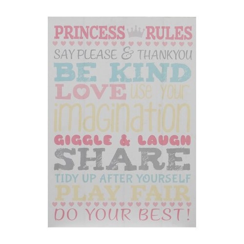 Kid's Princess Rules Wall Plaque, MDF - Multi-Coloured
