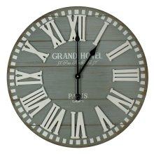 Wall Clock Grey Planks Roman Profile Dial 60cm