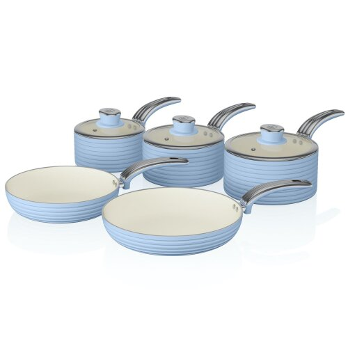 Swan Blue Retro Non-Stick 5pce Pan Set, 3 Saucepans 16/18/20cm, 2 Frying Pans 20/28cm with Tempered Glass Lids & Compatible with Induction Hobs