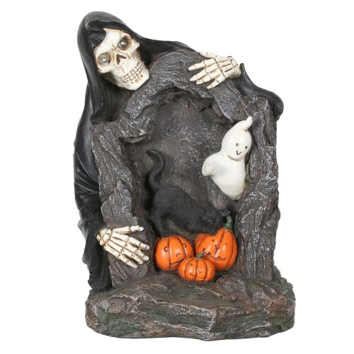 Grim Reaper Skeleton RIP Light Up Halloween Decoration With Ghosts