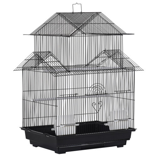 PawHut Metal Bird Cage Small w/ Perch Food Container Handle for Finch Canary