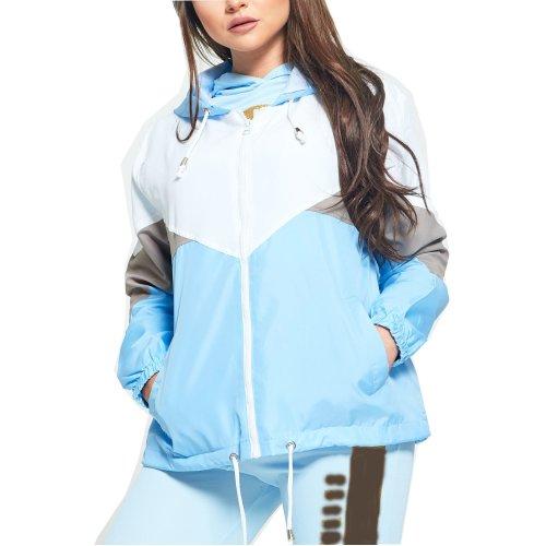 Gracious Girl New Womens Contrast Colour Block Hooded Rain Mac Festival Ladies Windbreaker Jacket