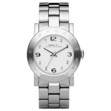 Marc Jacobs Amy Ladies Watch¦White Dial Stone Marker¦Stainless Strap¦MBM3054