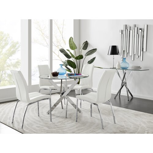Novara Chrome Metal 100cm Round Glass Dining Table And 4 Isco Dining Chairs