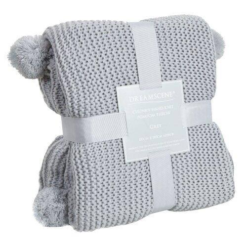 Dreamscene Knitted Pom Pom Throw | 150 x 180 Acrylic Yarn Blanket