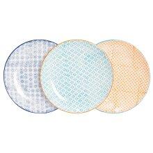 Patterned Dinner Plate Wedding Porcelain Kitchen Plates 3 Designs - 255mm x6