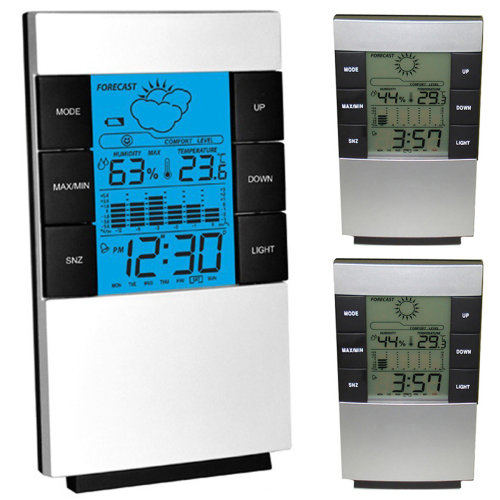 Digital Alarm Clock Backlight LCD Snooze Display Thermometer Humidity Weather