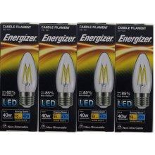 4 X Energizer LED Filament Candle ES E27 4W = 40W 470lm Warm White Screw Cap Bulb  [Energy Class A+]