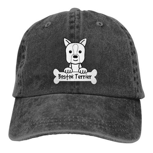Drawing Boston Terrier Denim Baseball Caps
