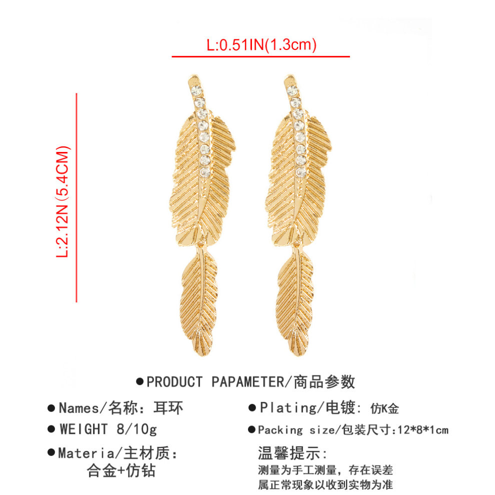 Cool Wind Simple Alloy Feather Diamond Earrings Earrings Jewelry On Onbuy