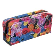 WHSmith Floral Chunky Pencil Case Cosmetic Bag With Chunky Black Zipper