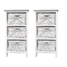 Set of 2 White 3 Chest of Drawer Hallway Bedroom  Storage Cabinet