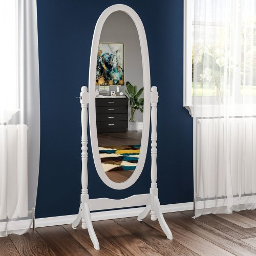 (White) Nishano Cheval Floor Standing Wooden Oval Mirror