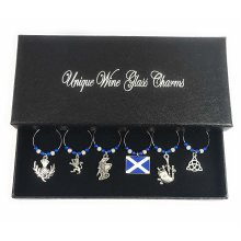 Scottish / Scotland Wine Glass Charms with Gift Box
