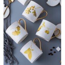 Set of 4 Porcelain White and Gold Leaf Design Mugs