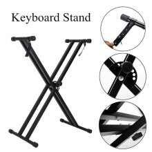 Portable X-Style Keyboard Stand Double Braced Holder