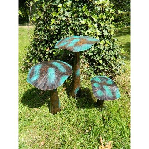 Mushroom Garden Ornament Set of 3 Flat Mushrooms