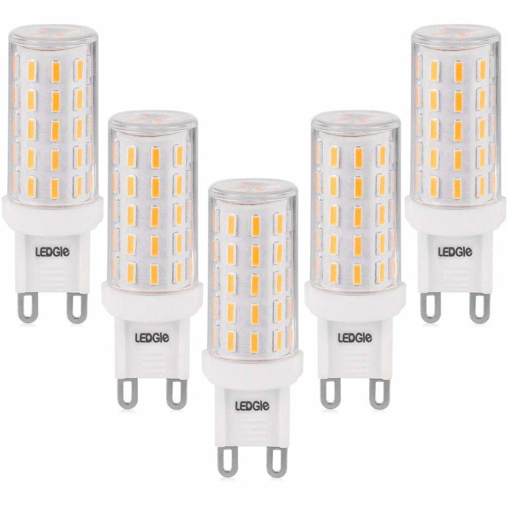 LEDGLE 6 Pack G9 LED Light Bulbs 51LEDs 5W Equivalent to 60 Watt Halogen Bulb,3
